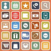 Iconos plana e-commerce en fondo naranja — Vector de stock