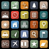 Location flat icons with long shadow — Stock Vector