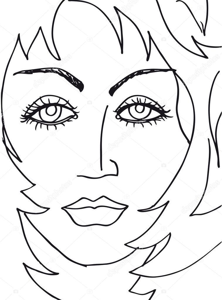 抽象女人的脸.矢量插画