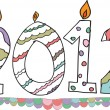 Happy new year 2012 made with candles. Vector illustration — Imagens vectoriais em stock