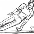 Sketch of Gymnast performs on the pommel horse. Vector illustrat - Stock Vector