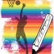 Drawing of Basketball player. Vector illustration — Stock Vector