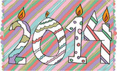 Happy new year 2014 made with candles. Vector illustration — Stock Vector