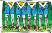 Sketch of Soccer players preparing for free kick. vector illustr — Stock Vector