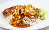 Khao Moo Daeng (rice with roasted red pork) — Stock Photo