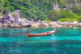 Taxi boat in the tropical sea — Stock Photo