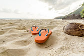 Flip-flop on the beach. — Stock Photo