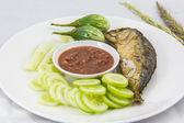 Fried Mackerel fish in Thai food — Stock Photo