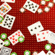 Poker chips and poker cards — Stock Photo
