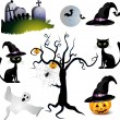 Stock Vector: Halloween with pumpkin ,ghost