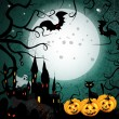 Halloween card with pumpkin - Imagen vectorial