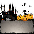 Halloween card with pumpkin — Imagen vectorial