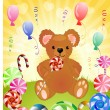 Stock Vector: Bear with candy