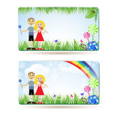 Children with candies , balloons and rainbow — Stock Vector