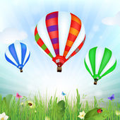 Spring landscape with hot air balloons — Stock Vector
