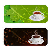 Coffee and Tea background — Stock Vector