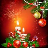 Decoración de navidad con velas — Vector de stock