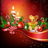 Kerstdecoratie met kaarsen — Stockvector