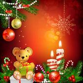 Juldekoration med ljus — Stockvektor