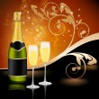 Stock Vector: Two glasses of champagne and bottle