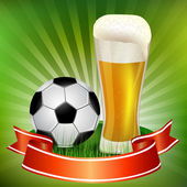 Glass of beer with soccer ball — Stock Vector