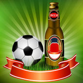 Football and beer — Stock Vector