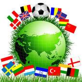 Fußball auf der erdkugel — Stockvektor