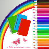 Set of colored pencils with notebooks — Stock vektor