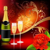 Champagne and roses — Stock Vector