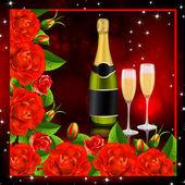Красные розы с шампанским — Cтоковый вектор