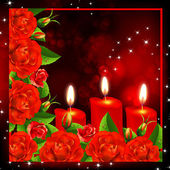 Red roses and three heart candles. — Stock Vector