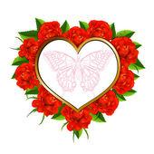 сердце с розами и бабочка — Cтоковый вектор