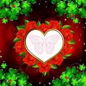 赤いバラとハート — ストックベクタ