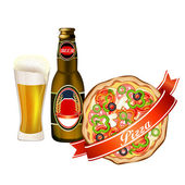 Pizza and beer — Stock Vector