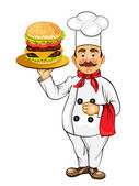 Chef with fast food products — Stock Vector