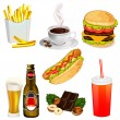Stock vektor: Set of fast food icons