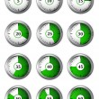 Round clock icons set — Stock Vector