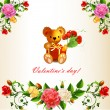 Valentine s card with Teddy bear and roses — Stock Vector