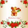 Valentine ' s card with Teddy bear and roses — Stock Vector