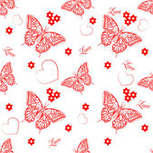 Seamless pattern with butterflies and hearts — Stok Vektör