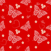 Seamless pattern with butterflies and hearts — Vettoriale Stock