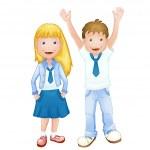 Boy and girl in school uniform — Stock Vector #45984681
