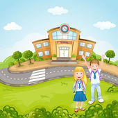 Illustration of a kids in front of school — Stock Vector