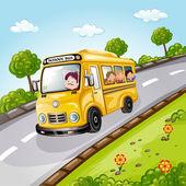 学校のバスで幸せな子供 — ストックベクタ