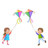 Kids playing with kite. — Stock Vector