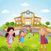 Group of School Children — Stock Vector