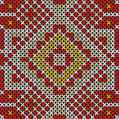 Seamless handmade cross-stitch ethnic pattern — Stock Vector