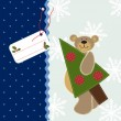Christmas background with Teddy Bear — Imagen vectorial
