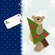 jul bakgrund med Nalle — Stockvektor