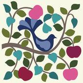Fågel i äppelträdet. — Stockvektor